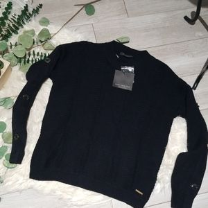 NWT MARC NEW YORK Andrew Marc black knit sweater S